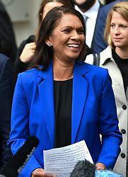 © Licensed to London News Pictures. 24/09/2019. London, UK. Businesswoman GINA MILLER is seen smiling while speaking to media as she leaves The Supreme Court in London following a ruling on an appeal against a judicial review of Boris Johnson's suspension of Parliament. The case has been brought by remain campaigner Gina Miller, with support from former British Prime Minister John Major. Photo credit: Ben Cawthra/LNP