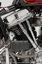 """Fendered Panhead with a stock H-D Panhead that was rebuilt in-house and put into a 7/8-inch chrome-moly Jim Davis rigid frame. Steel fenders hand made by Bob Munroe, and paintjob by Arlen with finish graphics by Jeff McCann. <br /> <br /> Appears in the Arlen Ness book """"The King of Choppers,"""" by Michael Lichter and Arlen Ness."""