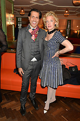 ALEXANDER BARANI and WENDY, COUNTESS CALEDON at a party hosted by Pace Gallery as part of Frieze 2015 held at 45 Jermyn Street, London on 15th October 2015.