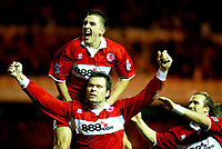 Fotball<br /> Premier League England 2004/2005<br /> Foto: BPI/Digitalsport<br /> NORWAY ONLY<br /> <br /> Middlesbrough v Manchester City<br /> Barcalys Premiership. 06/12/2004.<br /> <br /> Mark Viduka celebrates his opener with Stwewart Downing and Bolo Zenden (R)