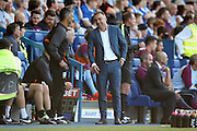 Sheffield Wednesday Manager Carlos Carvalhal  sees the funny side with the 4th official during the EFL Sky Bet Championship match between Sheffield Wednesday and Aston Villa at Hillsborough, Sheffield, England on 7 August 2016. Photo by Simon Davies.