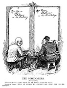 """The Dissemblers. [January 27th.] Emperor of Austria. """"Now what do we really want to say?"""" Sultan of Turkey. """"Well, of course we coudn't say that; Not on his birthday."""" (Franz Joseph I and Mehmed V prepare to write birthday letters to Kaiser Wilhelm II with Dear William - On His Birthday)"""