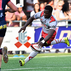 Dug Codjo of Oyonnax scores a try during a test match between Grenoble and Oyonnax on August 3, 2017 in Grenoble, France. (Photo by Romain Lafabregue/Icon Sport)