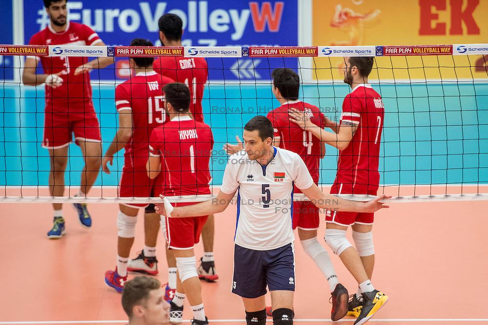 23-09-2016 NED: EK Kwalificatie Turkije - Wit Rusland, Koog aan de Zaan<br /> Turkije had het vrij lastig in de eerste wedstrijd tegen Wit Rusland maar blijven meedoen voor het EK ticket / Siarhei Busel #5