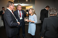 20th International AIDS Conference (AIDS 2014), run by the International AIDS Society at the Exhibition Centre, Melbourne, Australia. <br /> Photo shows Denis Napthine(left), Premier of Victoria and Victoria Health Minister David Davis (centre), talking to Sharon Lewin from the IAS, back-stage before the Opening Session. <br /> Photo: International AIDS Society/Steve Forrest