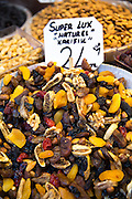 Mixed dried fruit and nuts with Turkish lira price ticket in Misir Carsisi Egyptian Bazaar food and spice market, Istanbul, Turkey