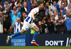 Brighton & Hove Albion's Shane Duffy celebrates scoring his side's second goal of the game with team-mates
