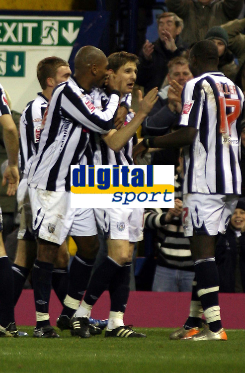 Photo: Mark Stephenson/Sportsbeat Images.<br /> West Bromwich Albion v Scunthorpe United. Coca Cola Championship. 29/12/2007.West Brom's Zoltan Gera (2ed R) celebrates his goal with team mates