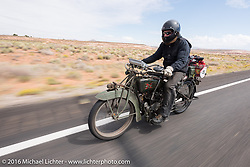 Kyle Rose of Utah riding his 1916 Excelsior during the Motorcycle Cannonball Race of the Century. Stage-11 ride from Durango, CO to Page, AZ. USA. Wednesday September 21, 2016. Photography ©2016 Michael Lichter.