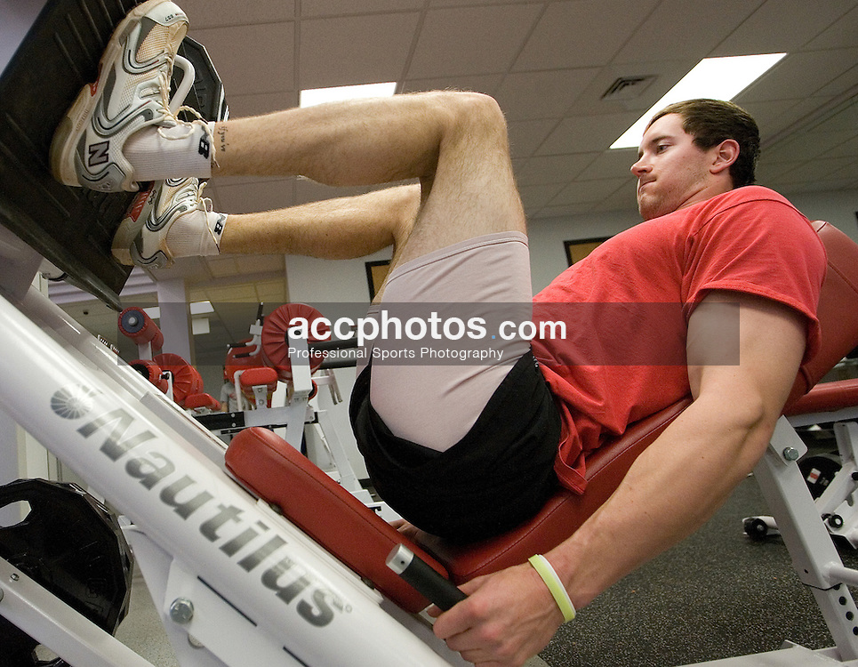 04 February 2007: North Carolina State Wolfpack RHP Andrew Brackman (40) works out in the Weisiger-Brown weight-room in Raleigh, NC.