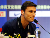 Argentine football star Javier Zanetti attends a press conference for the 2014 China-Italy The Football Legends Challenge Match in Wuhan city, central China's Hubei province, 16 October 2014.<br /> <br /> The 2014 China-Italy The Football Legends Challenge Match will kick off on Sunday (19 October 2014) in the central Chinese city of Wuhan.