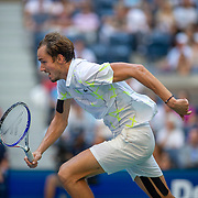 2019 US Open Tennis Tournament- Day Nine.  Danill Medvedev of Russia in action against Stan Wawrinka of Switzerland in the Men's Singles Quarter-Finals match on Arthur Ashe Stadium during the 2019 US Open Tennis Tournament at the USTA Billie Jean King National Tennis Center on September 3rd, 2019 in Flushing, Queens, New York City.  (Photo by Tim Clayton/Corbis via Getty Images)