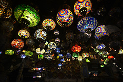 June 14, 2017 - SâO Paulo, São paulo, Brazil - SAO PAULO - JUNE 14: Ornate lamps lanterns inside The march 25 Grand Bazaar, São Paulo, great market in São Paulo, Brazil. The Turkish tradition in the glass business is recognized worldwide. It is not possible to tell whether they are the shapes, colors, textures or the careful work of fabrication that they conquer at first glance. Maybe the junction of everything and the chance to have a little piece of one of the most beautiful places in the world take our heart. (Credit Image: © Cris Faga via ZUMA Wire)