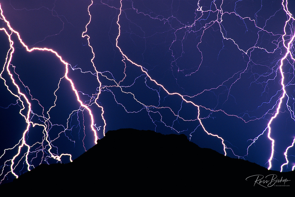 Lightning striking the Ajo Mountains, Organ Pipe Cactus National Monument, Arizona USA