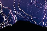 Lightning striking the Ajo Mountains, Organ Pipe Cactus National Monument, Arizona USA