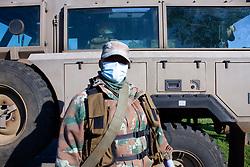 May 5, 2020 - Johannesburg, Gauteng, South Africa - A soldier while patrolling the Eldorado Park. (Credit Image: © Manash Das/ZUMA Wire/ZUMAPRESS.com)