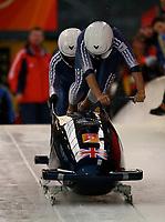 Photo: Catrine Gapper.<br />Winter Olympics, Turin 2006. Womens Bobsleigh. 21/02/2006. <br />Nicola Minichiello and Jacqui Davies of Great Britain.