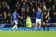 Theo Walcott of Everton (l) celebrates with his teammate Gylfi Sigurdsson after scoring his teams 1st goal. Premier league match, Everton v Leicester City at Goodison Park in Liverpool, Merseyside on Wednesday 31st January 2018.<br /> pic by Chris Stading, Andrew Orchard sports photography.