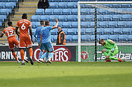 Shrewsbury Town forward Fejiri Okenabirhie (12) scores a goal from open play1-1 during the EFL Sky Bet League 1 match between Coventry City and Shrewsbury Town at the Ricoh Arena, Coventry, England on 28 April 2019.