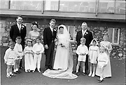 """16/09/1967<br /> 09/16/1967<br /> 16 September 1967<br /> Wedding of Mr Francis W. Moloney, 28 The Stiles Road, Clontarf and Ms Antoinette O'Carroll, """"Melrose"""", Leinster Road, Rathmines at Our Lady of Refuge Church, Rathmines, with reception in Colamore Hotel, Coliemore Road, Dalkey. Image shows (l-r); Unnamed gentleman; Matron of Honour Gladys McGloughlin; the Bride and Groom; Bestman, Michael Power and unnamed Bridesmaid. In front are flower girls and pageboys."""