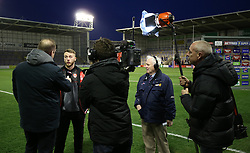 Player interviews for TV before the Betfred Super League match at The Halliwell Jones Stadium, Warrington. PRESS ASSOCIATION Photo. Picture date: Friday March 9, 2018. See PA story RUGBYL Warrington. Photo credit should read: Nigel french/PA Wire. RESTRICTIONS: Editorial use only. No commercial use. No false commercial association. No video emulation. No manipulation of images.