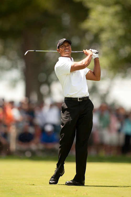 NEWTOWN SQUARE, PA - JULY 1: Tiger Woods plays a shot during the first round of the AT&T National Classic at Aronimink Golf Club on July 1, 2010 in Newtown Square, Pennsylvania. (Photo by Darren Carroll) *** Local Caption *** Tiger Woods