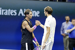NEW YORK, Sept. 9, 2019  Rafael Nadal (L) of Spain shakes hands with Daniil Medvedev of Russia after the men's singles final match between Rafael Nadal of Spain and Daniil Medvedev of Russia at the 2019 US Open in New York, the United States, Sept. 8, 2019. (Credit Image: © Li Muzi/Xinhua via ZUMA Wire)