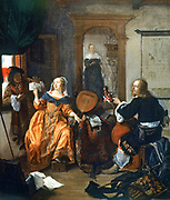 A Music Party', 1659. Gabriel Metsu (1629-1667) Dutch painter.  Dutch interior with woman with lute showing music to man on left. Man on right holds a viola da gamba(?).  Maidservant approaches through archway.