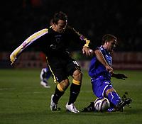 Photo: Steve Bond.<br /> Leicester City v Cardiff City. Coca Cola Championship. 26/11/2007. Gavin Rae (L) avoids a challange