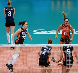 01-10-2014 ITA: World Championship Volleyball Servie - Nederland, Verona<br /> Nederland verliest met 3-0 van Servie en is kansloos voor plaatsing final 6 / Lonneke Sloetjes, Myrthe Schoot