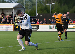 Brechin City's keeper Graeme Smith reacts after Alloa Athletic's Greg Spence misses his penalty. Athletic 4 v 3 Brechin City (Brechin won 5-4 on penalties), Ladbrokes Championship Play-Off 2nd Leg at Alloa Athletic's home ground, Recreation Park, Alloa.