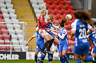 Manchester United Women defender Millie Turner (21) headers the ball towards goal during the FA Women's Super League match between Manchester United Women and BIrmingham City Women at Leigh Sports Village, Leigh, United Kingdom on 24 January 2021.
