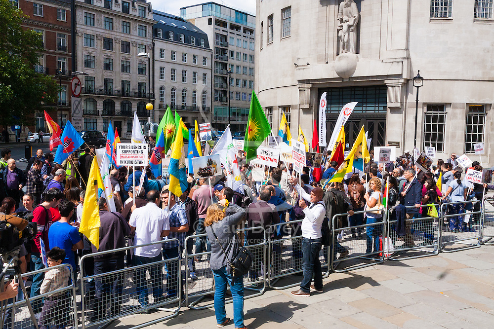 London, August 16th 2014. Dozens of Kurds, Yazidis, Iraqui Christians and their supporters gather outside the BBC headquarters in London in protest against the ongoing reign of terror in the Middle East by the Islamic State, formerly known as ISIS.