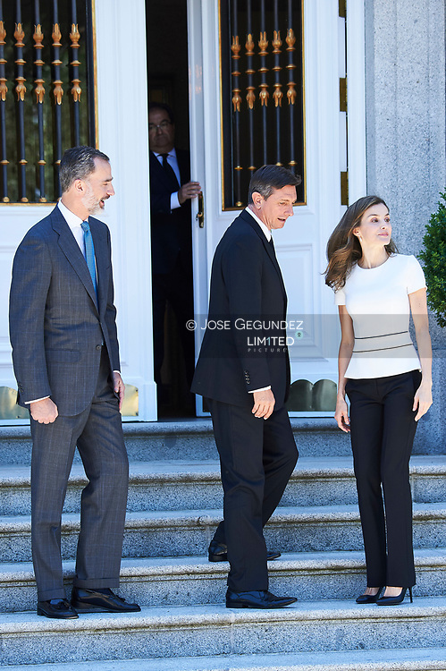 King Felipe VI of Spain, Queen Letizia of Spain atended an official lunch at Palacio de la Zarzuela with President of Slovenia, Borut Pahor on June 27, 2017 in Madrid, Spain