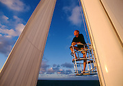Jim Clark, founder of Silcon Graphics, Netscape and Healtheon in the crow's nest of the 192' mast of his cutter rigged superyacht. At the time it was the tallest mast in the world.  <br /> Jim Clark, founder of Silcon Graphics, Netscape and Healtheon.