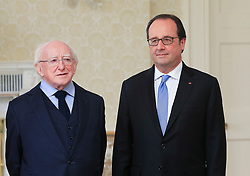 © Licensed to London News Pictures. 21/07/2016. Dublin, Ireland. Irish President Michael D Higgins meets with French President Francois Hollande during his one day visit to Ireland.  Photo credit: Paul McErlane/LNP
