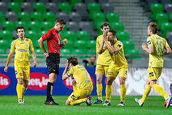 Damir Skomina, referee with yellow and red card for Dalibor Teinovic of Domzale during football match between NK Domzale and NK Maribor in final match of Hervis Cup, on May 25, 2011 in SRC Stozice, Ljubljana, Slovenia. Domzale defeated Maribor and became Slovenian Cup Champion 2011. (Photo By Vid Ponikvar / Sportida.com)