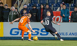 Falkirk's Craig Sibbald beats Dundee United's Willo Flood. Falkirk 6 v 1 Dundee United, Scottish Championship game played 6/1/2018 played at The Falkirk Stadium.