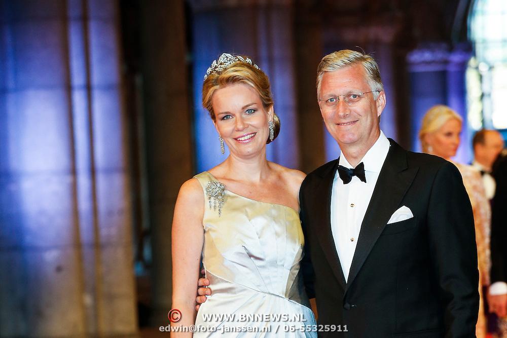 NLD/Amsterdam/20130429- Afscheidsdiner Konining Beatrix Rijksmuseum, Princess Mathilde en prince Filip of Belgium