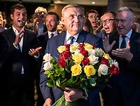Bialystok, 21.10.2018. Wieczor wyborczy Koalicji Obywatelskiej. Wybory wg wstepnych sonadazy wygral w pierwszej turze Tadeusz Truskolaski ( 51% glosow ) obecny prezydent Bialegostoku, ktory pokonal Jacka Zalka ( 32% glosow ) N/z (L-P) Tadeusz Truskolaski prezydent Bialegostoku i Robert Tyszkiewicz podlaski posel PO fot Michal Kosc / AGENCJA WSCHOD