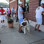 Fans buy tickets for the New Britain Rock Cats Vs Binghamton Mets Minor League Baseball game at New Britain Stadium, New Britain, Connecticut, USA. 2nd July 2014. Photo Tim Clayton