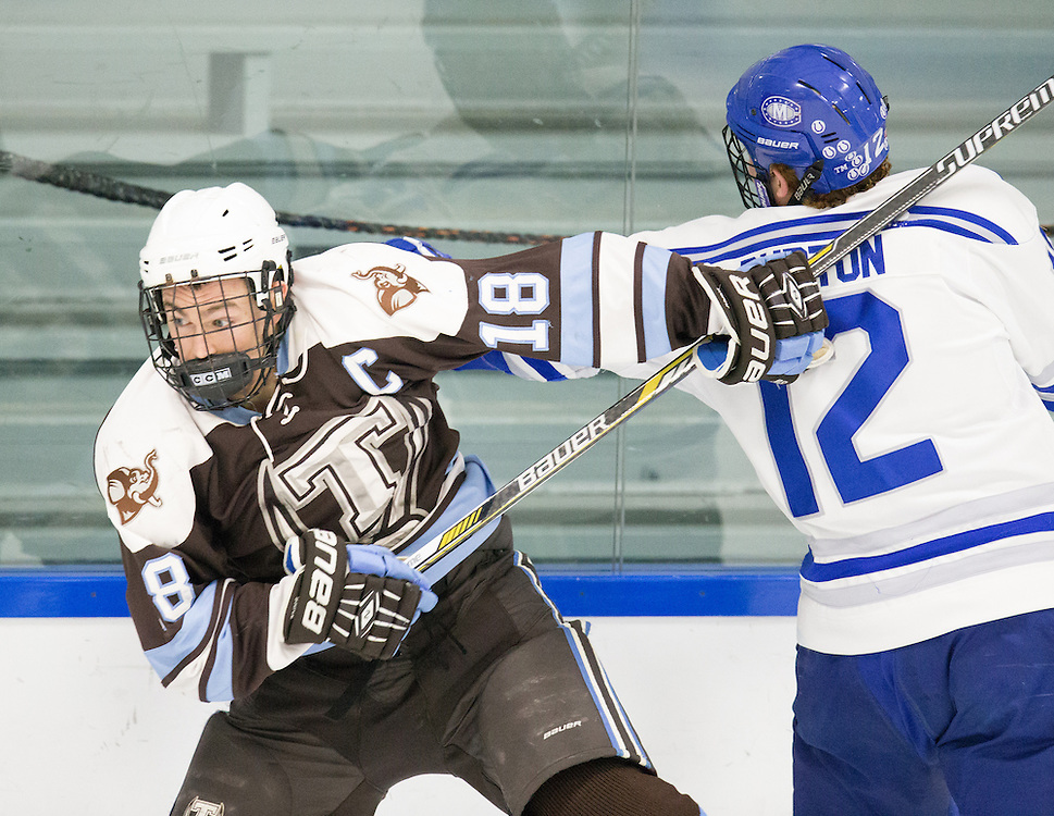 Jack Burton, of Colby College, in a NCAA Division III hockey game against Tufts University on February 20, 2015 in Waterville, ME. (Dustin Satloff/Colby College Athletics)