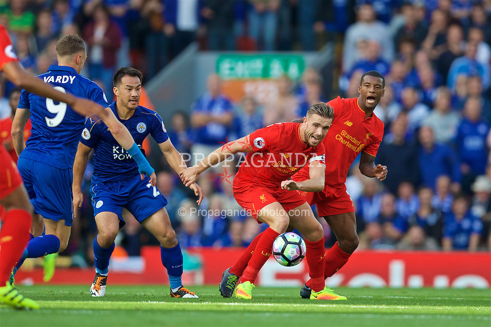 LIVERPOOL, ENGLAND - Saturday, September 10, 2016: Liverpool's captain Jordan Henderson and Georginio Wijnaldum in action against Leicester City during the FA Premier League match at Anfield. (Pic by David Rawcliffe/Propaganda)