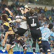 Sydney keeper Clint Bolton clatters his opposite number Danny Vokovic during a last minute corner during the Sydney FC V Central Coast Mariners A-League match at the Sydney Football Stadium, Sydney, Australia, 23 December 2009. Photo Tim Clayton
