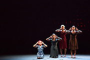 "Dancers as chorus in Barak Marshall's ""Harry""."