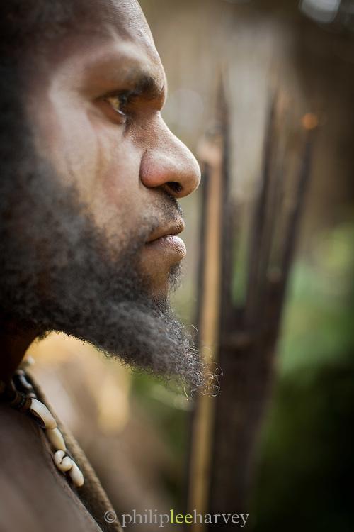 Portrait of tribe leader of Kusumba Tribe, Kogie, Rondon Ridge, Mount Hagen, Western Highlands Province, Papua New Guinea