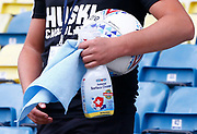 Millwall staff clean footballs with Antiviral Surface Cleaner during EFL Sky Bet Championship between Millwall and Derby County at The Den Stadium, Saturday, June 20, 2020, in London, United Kingdom. (ESPA-Images/Image of Sport)