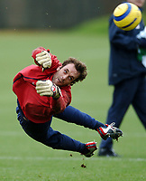 Photo: Javier Garcia/Back Page Images Mobile +447887 794393<br />Arsenal FC UEFA Champions League Training, London Colney, 06/12/04<br />Manuel Almunia is beaten in training by a goal bound shot