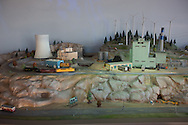 Nuclear power plant and wind energy farm included in a display of on energy in the <br /> Fort Worth Museum of Science and History in Texas.