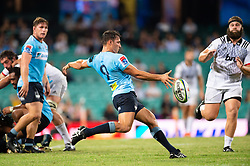 March 23, 2019 - Sydney, NSW, U.S. - SYDNEY, NSW - MARCH 23: Waratahs player Nick Phipps (9) kicks the ball at round 6 of Super Rugby between NSW Waratahs and Crusaders on March 23, 2019 at The Sydney Cricket Ground, NSW. (Photo by Speed Media/Icon Sportswire) (Credit Image: © Speed Media/Icon SMI via ZUMA Press)